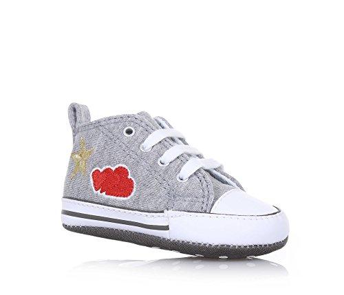CONVERSE - Grauer Schuh für die Wiege mit Schnürsenkeln, aus Stoff, seitlich und auf der Sohle ein Logo, weiße Schnürsenkel, Baby Mädchen