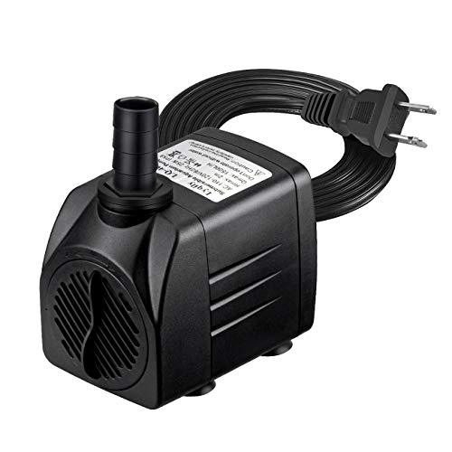 Lyqily 400GPH Water Pump Ultra Quiet 25W Submersible Fountain Aquarium Fish Pond Hydroponic Pump with 6.6ft High Lift, 5.9ft Two-pin Plug Power Cord, 2 Nozzles