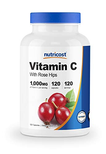 Nutricost Vitamin C with Rose Hips 1025mg, 120 Capsules - Vitamin C 1,000mg, Rose Hips 25mg, Premium, Non-GMO, Gluten Free Supplement…