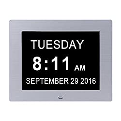 JJcall Alarm Clock Wall clock --Original Memory Loss Calendar Day Digital Clock with Extra Large Non-Abbreviated Day (White)