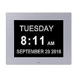 JJcall Alarm Clock Wall clock --Original Memory Loss Calendar DayDigital Clock with Extra Large Non-Abbreviated Day (White)