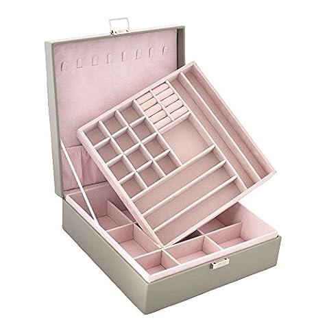 Lavie 2-layer Square-shaped Jewelry Box Faux Leather Jewelry Organizer Storage (Gray) - Jewelry