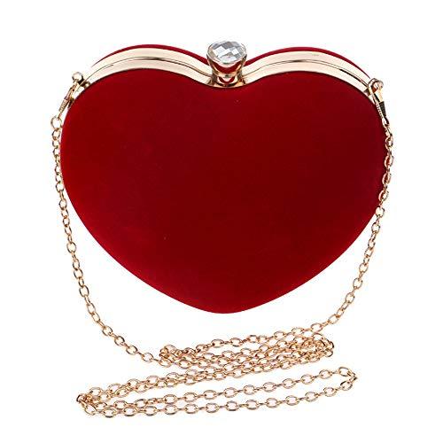 en de Elegante Rojo Donna Boda Clutch Color de Bolso Noche Mujer Yamyannie Borsa de Bolso corazón Mujer de Rojo para satén Forma q4Rang8x