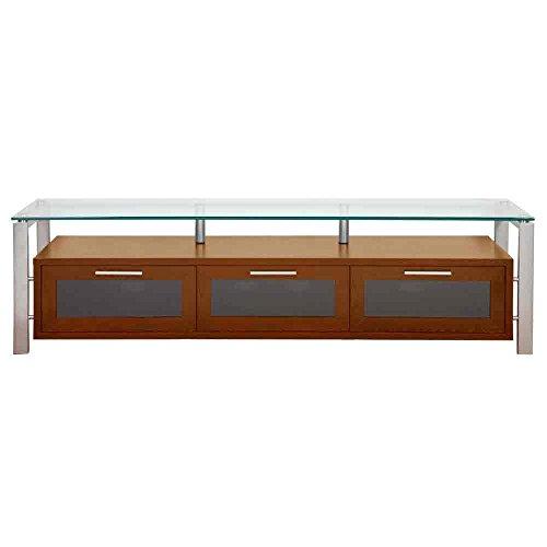Plateau DECOR 71 WS Wood and Glass TV Stand, 71-Inch, Walnut Finish -