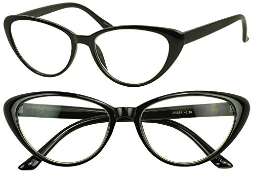 Women's Round Rx Optical Cat Eye Magnification Reading Readers Eye Glasses (Black, 3 x)