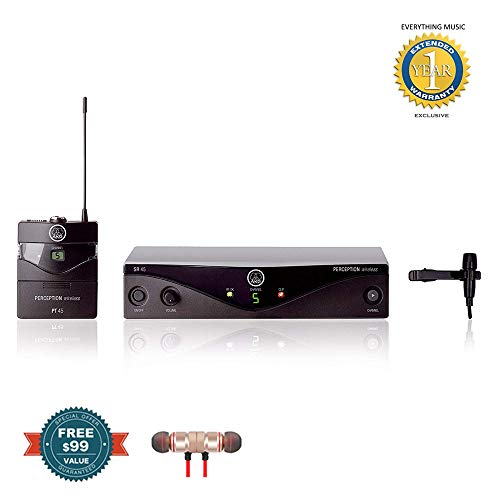 AKG Perception Wireless Presenter Set Frequency A / 530-560MHz includes Free Wireless Earbuds - Stereo Bluetooth In-ear and 1 Year Everything Music Extended Warranty