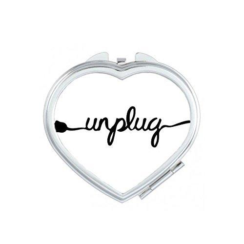 Plug Wire Desconectar Funny diseño creativo patrón de ilustración corazón compacto maquillaje espejo de bolsillo...