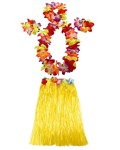 AniiKiss 1 Set 60cm Adult Hula Grass Skirt Hawaiian Party Costume Luau Dance Skirts (Yellow)]()