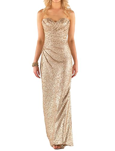 JYDress Women's Glamorous Sweetheart Sleeveless Sequins Long Bridesmaid Dress 2017 (Sweetheart Cross Criss Bodice)