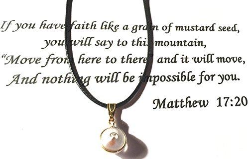 Mustard Seed charm on leather cord W/matthew 17:20 Scripture Card Mustard Seed Scripture