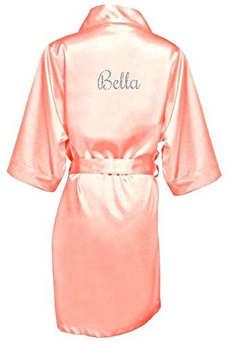 Women's Peach Satin Custom Name in Glitter Robe S/M 4-12