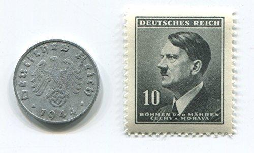 Rare Nazi Swastika 1 Reichspfennig German Coin World War Two WW2 with Black Stern Hitler Stamp - Mnh Stamp Coin