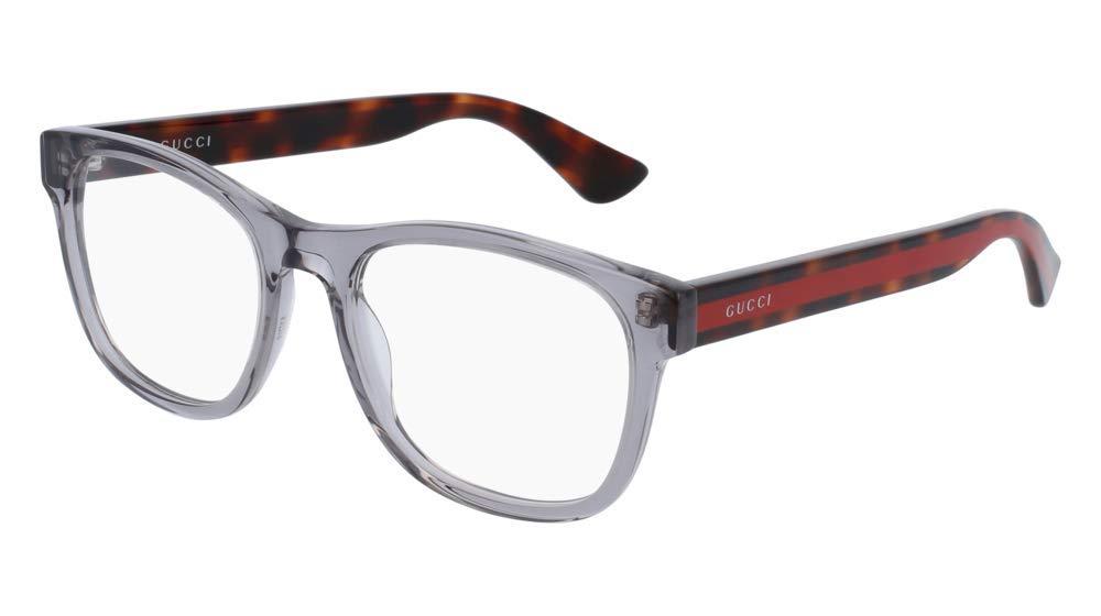 Gucci GG 0004O 004 Transparent Light Grey Plastic Square Eyeglasses 53mm by Gucci