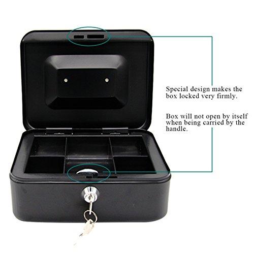 d38693650d58 Jssmst Locking Metal Cash Box with Money Tray,Lock Box,Black X ...
