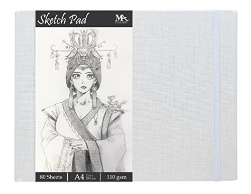 Sketch Pad - Size 8.5 x 11.0 inches - 80 sheets Sketch Paper - Linen Bound Hardback Sketch Book - Ideal for Drawing, Sketching, Journaling - MozArt Supplies by MozArt Supplies