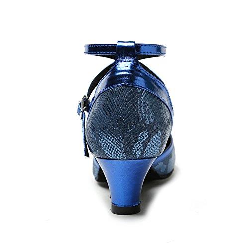 Kevin Fashion Kl219 Dames Cross Strap Synthetische Latin Salsa Tango Pumps Pumps Blauw-5.2cm Hak