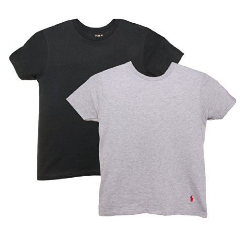 Polo Ralph Lauren Kids/Boys 2 Pack Crew Neck Undershirt XL Black/Grey (Ralph Lauren Junior)