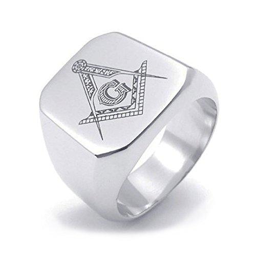 Free Mason Ring (Flat Face Design). Stainless Steel - Freemason's Jewelry Masonic Rings for Stone Masons / Free Masonry Member. Free Masons Masonary Ring with Masonic symbol emblem in black enamel! Multiple size - Masonic rings for men. (8)