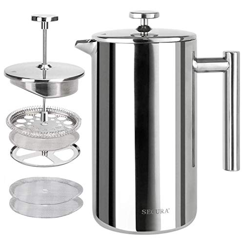 Secura French Press Coffee Maker, 304 Grade Stainless Steel Insulated Coffee Press with 2 Extra Screens, 50oz (1.5 Litre), Silver