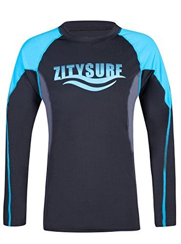Printed Crew Rash Guard - ZITY Long Sleeve Rashguard,Girls Crew Neck Printed Rash Guards Shirt UV Protection Swimwear Blue XXL