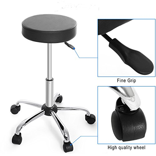 Price comparison product image Fashine Round Height Adjustable Bar Stool with 360 Degree Rotation Dual Wheels for Home, Kitchen, Bar(Black)