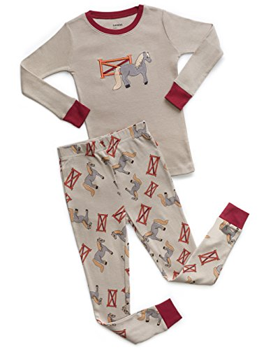 Leveret Organic Cotton Pony 2 Piece Pajama Set 5 Years