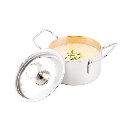 (Mini Casserole Pot with Lid - Stainless Steel Casserole Pot - Double Handled - 5.75