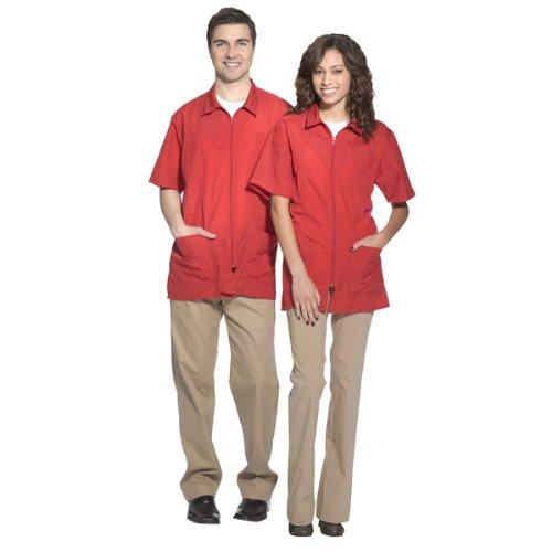 Crinkle Nylon Jacket (Betty Dain Nylon Barber Jacket, Red Medium)