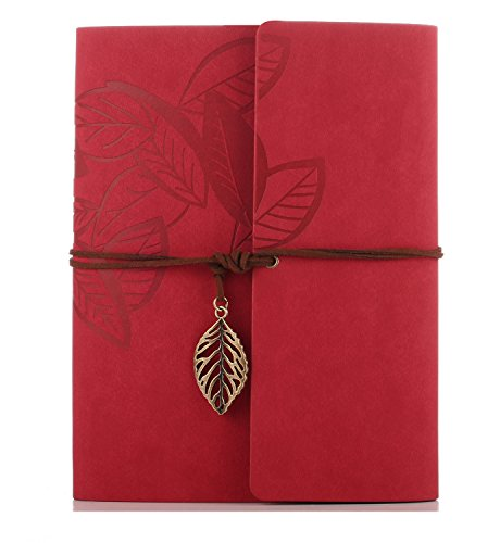 ZEEYUAN Scrapbook, Memories Scrapbook Leaf Soft Leather Album Family Self-Adhesive Books Special Christmas Gifts Birthday Gifts Unique Gift for Women (Red)