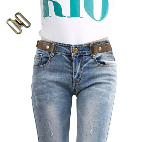 No Buckle Stretch Belt For Women/Men Elastic Waist Belt for Jeans Pants, Invisible Comfortable Belt
