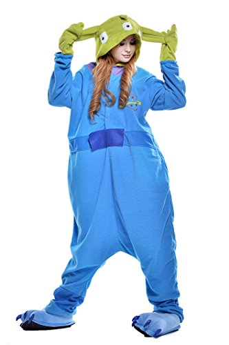 NEWCOSPLAY Adult Anime Unisex Pyjamas Halloween Onesie Costume (Large, Alien) ()