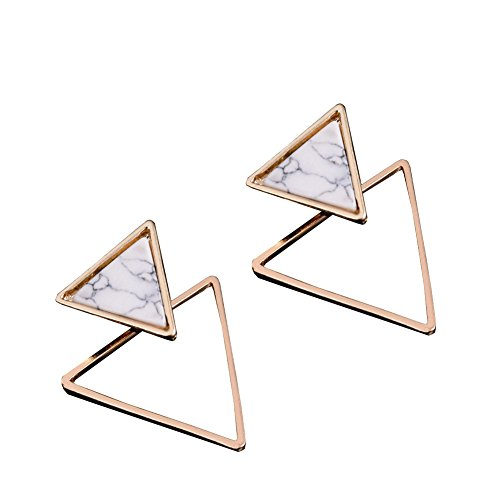 - Geometric Double Triangle Turquoise Stud Earrings for Women Girls Vintage Simple White Marble Stone Drop Earrings(Triangle)