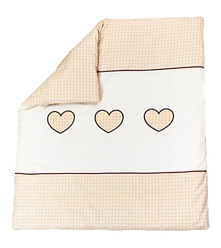 Quilt with Embroidered Heart/Duvet Filling Suitable for Crib/Pram - CREAM BabyComfort