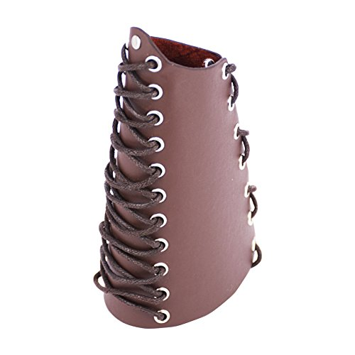 (Nachvorn Faux Leather Laces Wristband Arm Guards Gauntlet Cuff Medieval Bracers Brown)