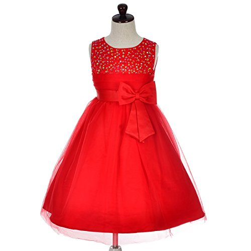 Silk Pleated Bodice Dress - Dressy Daisy Girls' Girls' Beaded Satin Tulle Flower Girl Dresses for Wedding Pageant Party 4-5 Red