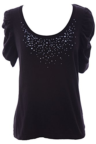 Beaded Silk Sweater (August Silk Women's Beaded Ruffle Sleeve Sweater Petite Medium Black)