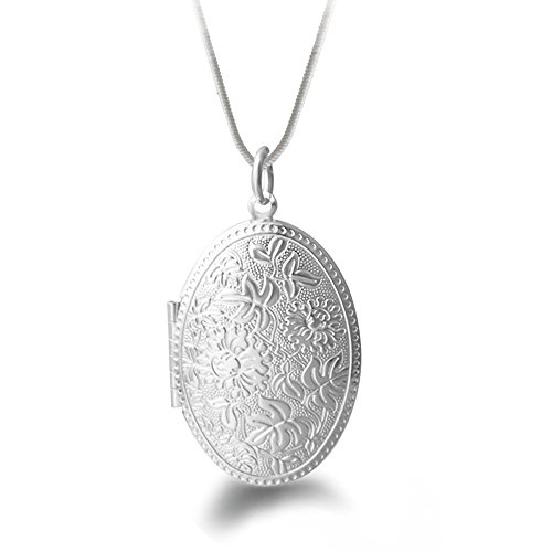 Winter's Secret Silver Plated Vintage Pattern Open Oval Shape Pendant Locket Necklace with Snake Chain Vintage Silver Lockets