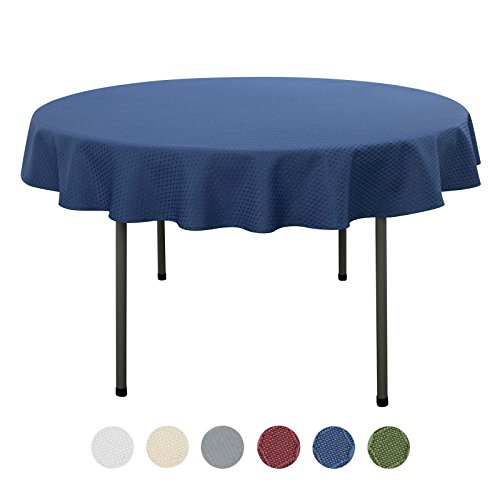 VEEYOO 60 inch Waffle Jacquard Round Polyester Spillproof Tablecloth for Restaurant Kitchen Dining Party Venue Decor, Navy Blue