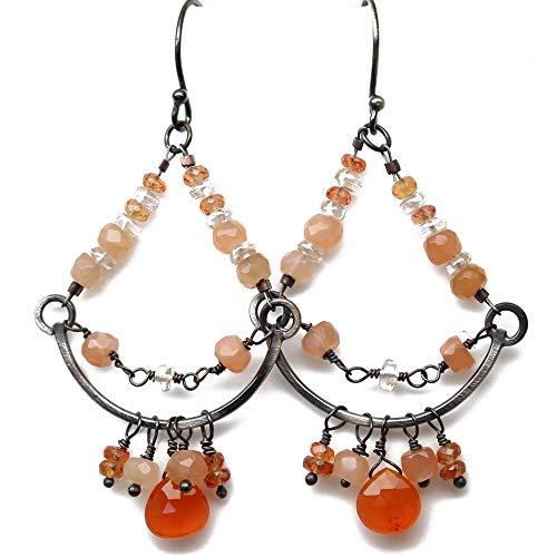 Peach Moonstone Chandelier Earrings in Sterling Silver