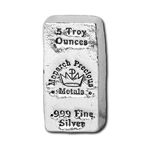 5 oz. 999 Fine Silver Bar - Monarch - Hand Poured - ()