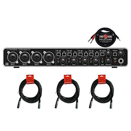 Behringer U-PHORIA UMC404HD Audio/MIDI Interface with MIDAS Mic Preamplifiers BUNDLE with 3 Senor 20