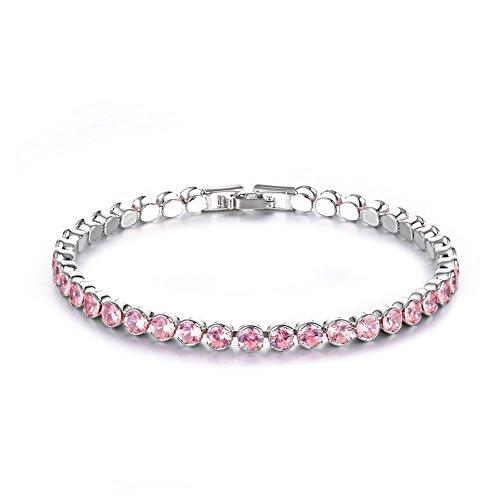 CARSINEL 2 PCS White Gold Plated Round Cut 4mm Cubic Zirconia Tennis Bracelet Set for Women (Pink)
