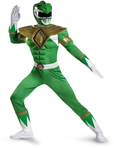 Ranger Muscle Adult Costume Green - Green Mighty Morphin Power Ranger Halloween Costume