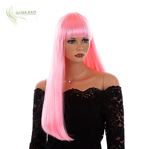 ENJOY THE DIFFERENCE Long Wig with Bang Straight Synthetic Hair Wig for Woman Halloween Wig (DF80) ()