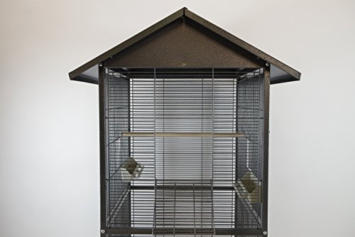 Homey Pet - 65 House Shape Bird Cockatoo Macaw Cage with Roof Casters, Feed Door, Perch, Metal Tray. Size: 23 ½ (W) x 23 ½ (L) x 54 ¼' (H). Item ID:PR-1610-BSV