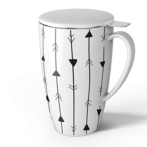 Sweese 2151 Porcelain Tea Mug with Infuser and Lid, 15 OZ