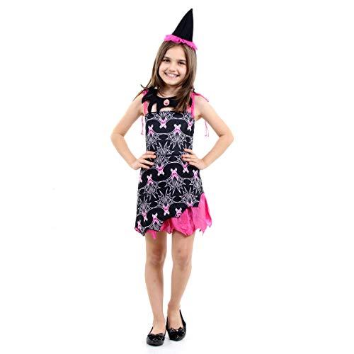 Fantasia Bruxa Vampira Infantil Sulamericana Fantasias Preto/Rosa M 6/8 Anos