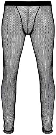 d29d62d09bc7ad YiZYiF Men's Fishnet Underwear Low Rise Slim Legging Tight Pant Mesh Long  Trousers