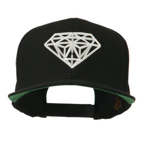 Big Diamond Embroidered Flat Bill Cap – Black OSFM