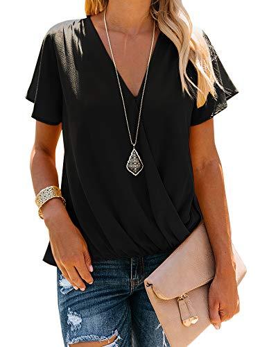 Surplice Neck - Farktop Women's V Neck Causal Wrap Tunic Top Short Sleeve Draped Surplice T-Shirt Blouse Black